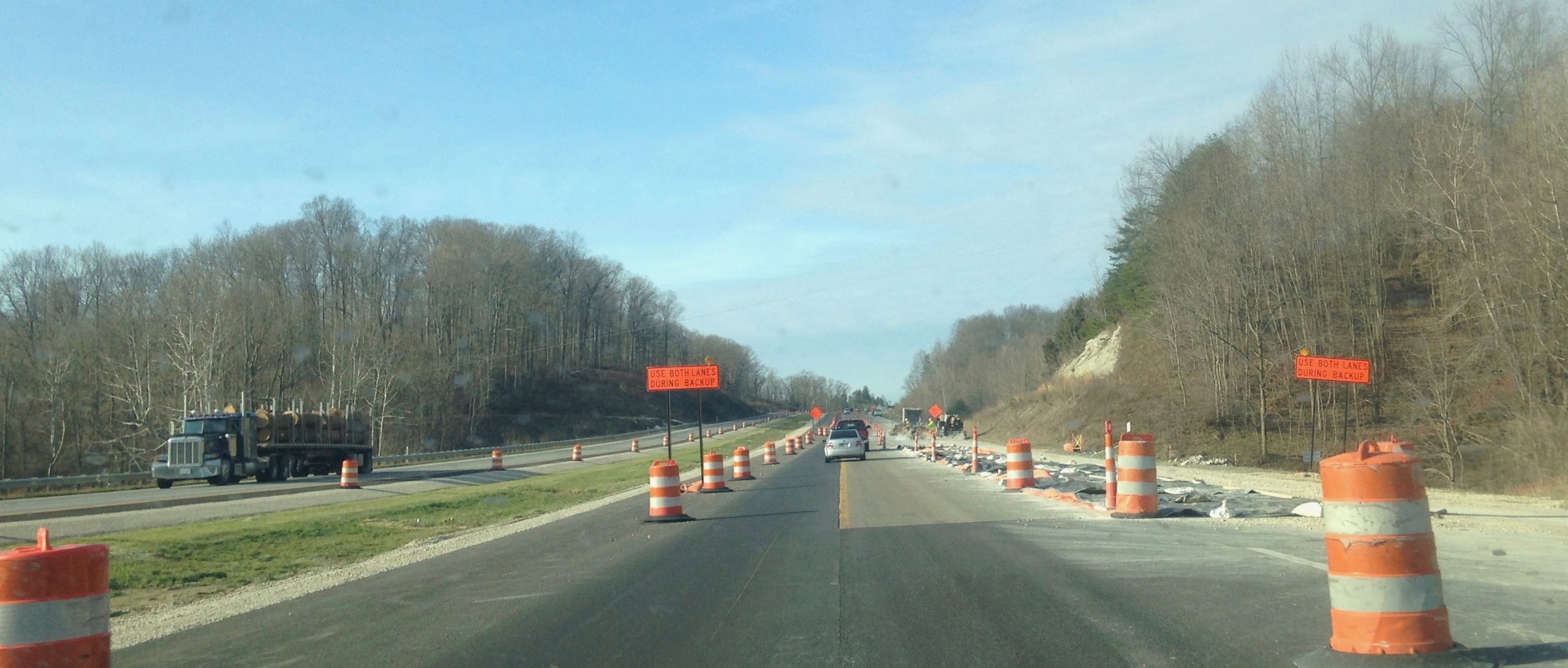 Construction Barrels and traffic